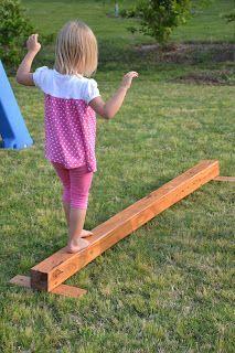DIY balance beam for outdoor play