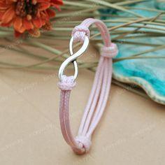 Infinity+bracelet+Karma+bracelet++Adjustable+pink+by+luckyvicky,+$4.99