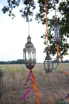 Moroccan style summer picnic, silk ribbon, ribbons, company picnic, trees, moroccan style, blue wedding flowers, blue weddings, lanterns