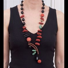 Necklace | Natassa of NatArt Jewellery.  Black horn,sponge coral, black coral, turquoise,onyx and leather.