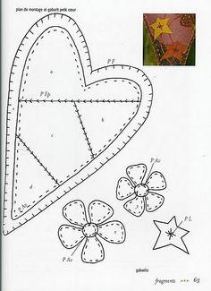 Coração de Feltro - molde 2