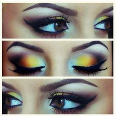 WOW!!! Amazing gold, orange and violet eye shadow!!