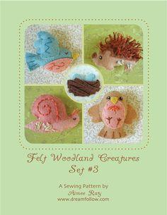 Mini Felt Woodland Creatures plush PDF pattern SET 3