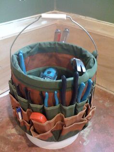 Carry tools in an old 5 gallon bucket even if it has a hole or split in it.  Add an extension cord and/or power strip for electric tools.