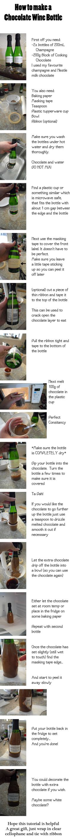How to - Chocolate Dipped Wine Bottle