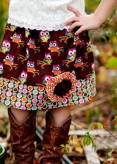 Fall children girl toddler skirt owl