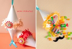 Mini Cone Piñatas | 20 Creative Ways to Make a Piñata