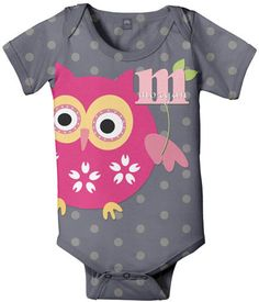 Personalized Owl Onesie Baby Pink Owl Infant by SimplySublimeBaby