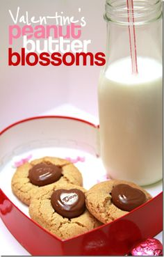 Peanut Butter Blossom cookies updated for Valentine's Day!