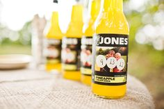Super cool idea! Personalize Jones Soda bottles for wedding souvenir