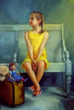 Artist: Marci Oleszkiewicz (b. 1979) {contemporary figurative impressionist painter seated girl with doll on bench child cropped painting} Anticipating !!