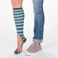 Women's Striped Pair of No-Show high heel socks