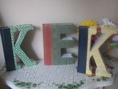 Monogram Letters cut from Readers Digest Books