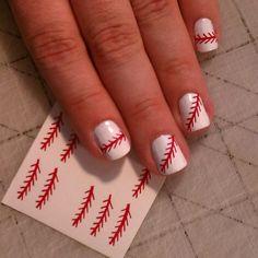 basebal nail, style, red nail art designs, basebal thing, red nails, nail arts, beauty nails, baseball nails design