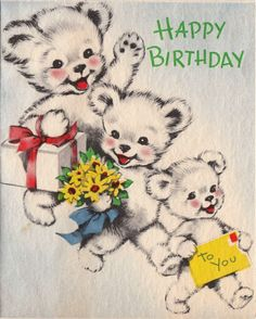 Happy Birthday greeting from three bears