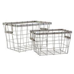 W4762Rectangular Wire Baskets with Handles Storage