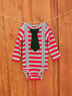 Striped Baby Boy Tie Onesie with Suspenders