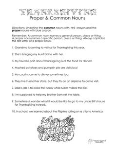 Common vs. proper nouns... THANKSGIVING worksheet! Free download