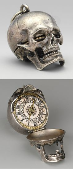 Watch in the form of a skull, ca. 1640-50  Movement by Isaac Penard (Swiss, 1619-1676)  Case and dial: silver, partly nielloed, with a single silver hand; Movement: gilded brass and steel; back plate of movement