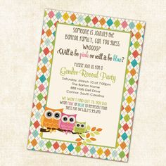parti invit, owl gender, gender reveal parties, party invitations, owl babies, shower invitations, babi shower, reveal invit, baby showers