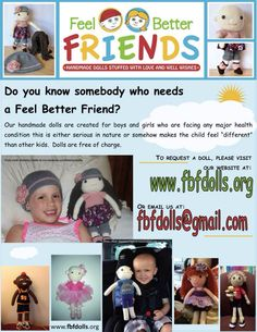 Please join us in creating personalized dolls for critically ill kids! https://docs.google.com/forms/d/189sZVXlTFIY-dkHWs0va9Nc0DxJHqbJM6sqnLrjbHkk/viewform