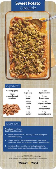 """It's not Thanksgiving without sweet potato casserole on the table! """"I got this recipe from my grandmother—it's one of my family's favorites,"""" says Brooke B. from Store 3036 in Yanceyville, N.C. #holiday #traditions #food"""
