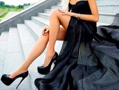 sexy black high heel pumps and long black evening gown skirt (maxi dress)