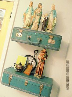 {Bees Knees Bungalow}: Vintage Suitcase Shelves. (I'd just hate to do this with a suitcase with a nice interior!)
