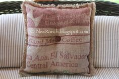 Love the color on this coffee sack pillow.