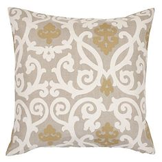 Gabriel Pillow in natural linen with gold appliqué is subtle sophistication. $69.95 #ZGallerie