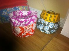Fabric stash baskets! They are fun to make...here is the tutorial - http://www.purlbee.com/sewn-stash-baskets/