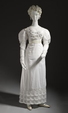 Summer Dress circa 1815-1820 Costumes Linen, net, embroidered Center back length: 53 1/2 in. (135.89 cm) Purchased with funds provided by Su...