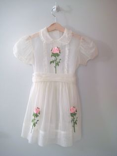Girl's Vintage White Chiffon Rose Dress by BabyTweeds on Etsy, $40.00