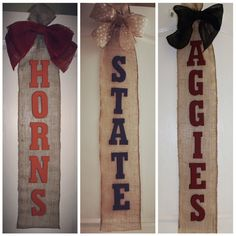 Collegiate Burlap Wall Hanging - Texas Longhorns, Penn State Nittany Lions, Texas A&M Aggies - custom orders taken!