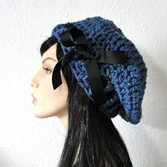 Denim Beret with Black Grosgrain Ribbon