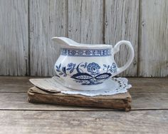 Vintage Blue and White Pitcher or Creamer, Farmhouse Decor. $14.00, via Etsy.