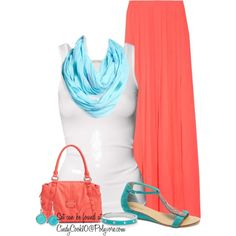 """""""Coral and Teal!"""" by cindycook10 on Polyvore"""