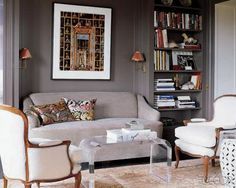 interior, grey walls, coffee tables, living rooms, elle decor, color, librari, small spaces, live room