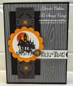 handmade Halloween card ... haunted house image ... woodgrain embossed background .. spiders ... like the card sketch used ... Stampin' Up!