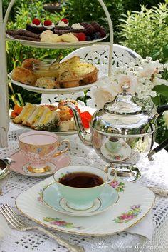 vintage style garden afternoon tea