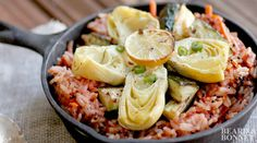 Tomato & Mustard Seed Rice with Roasted Zucchini and Artichoke Hearts | gourmandelle.com
