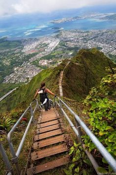 Haiku Stairs (Stairway to Heaven) - a steel staircase of 4000 steps that ascends a ridge up from the Valley of Haiku near Kaneohe on the island Oahu, HI.
