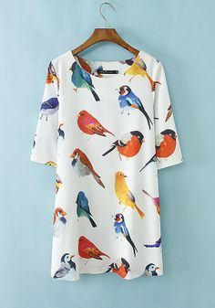 Multicolor Birds Print Half Sleeve Polyester Mini Dress