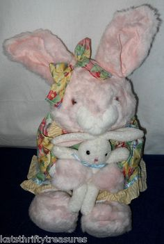 "Bunny 20"" Commonwealth Toys 1999 Plush Rabbit Mother & Baby, Dress Bow Bunnies $50.00"