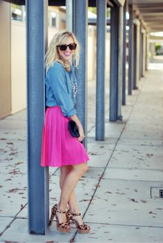 hot pink and chambray