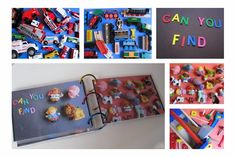 Make your own I-Spy Book with your child's own toys . Easy to keep adding pages as you go too.
