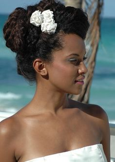 updo for natural hair for wedding, Dominican bride.