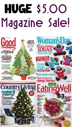 HUGE $5.00 Magazine Subscription Sale!    {Better Homes, Country Living, EatingWell, House Beautiful, Popular Mechanics + more!}