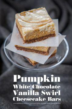 Pumpkin White Chocolate Vanilla Swirl Cheesecake Bars by Irvin Lin of Eat the Love