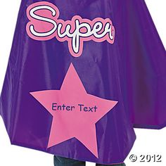 "Personalized Girl's Superhero Cape & Mask - Oriental Trading. 80"" cape seems a bit long!"
